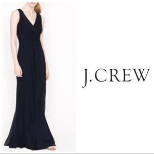 J Crew Sophia Long Black Silk Gown Classic 14